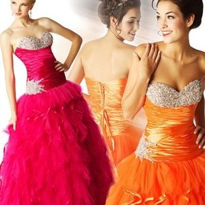 MacDuggal Ruched Blingy Ballgown